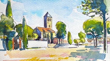 Aquarel·la de l'església romànica de Santa Maria de Barberà del Vallès.