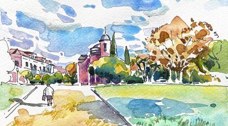 Aquarel·la amb una panoràmica del Parc de la Ciutadella de Barcelona amb l'edifici de la parròquia Castrense.