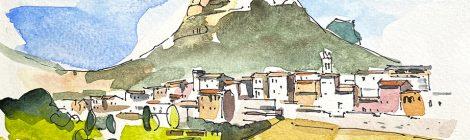 Aquarel·la amb una panoràmica de la vila d'Organyà amb la muntanya de Santa Fe al fons, a l'Alt Urgell.