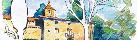 Aquarel·la de l'església de Sant Cristòfol de Cerdans, dins el terme d'Arbúcies.