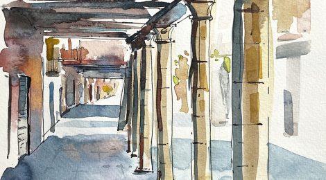 Aquarel·la de les porxades del carrer dels Canonges.