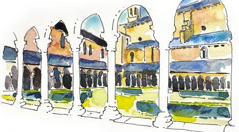 Aquarel·la del claustre romànic de la catedral de la Seu d'Urgell (Alt Urgell).