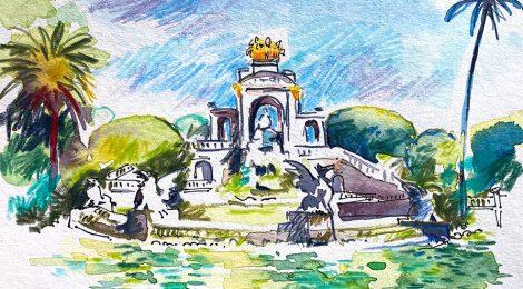 Aquarel·la de la cascada monumental del parc de la Ciutadella de Barcelona.