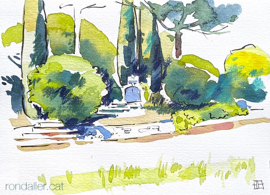 Aquarel·la de la capella del Coll de Parpers, a mig camí entre el Maresme i el Vallès Oriental.