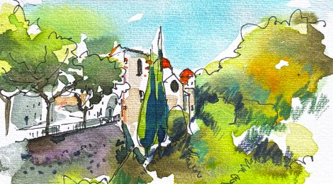 Aquarel·la amb el conjunt d'edificis de la capella neoclàssica del Remei de Caldes de Montbui.