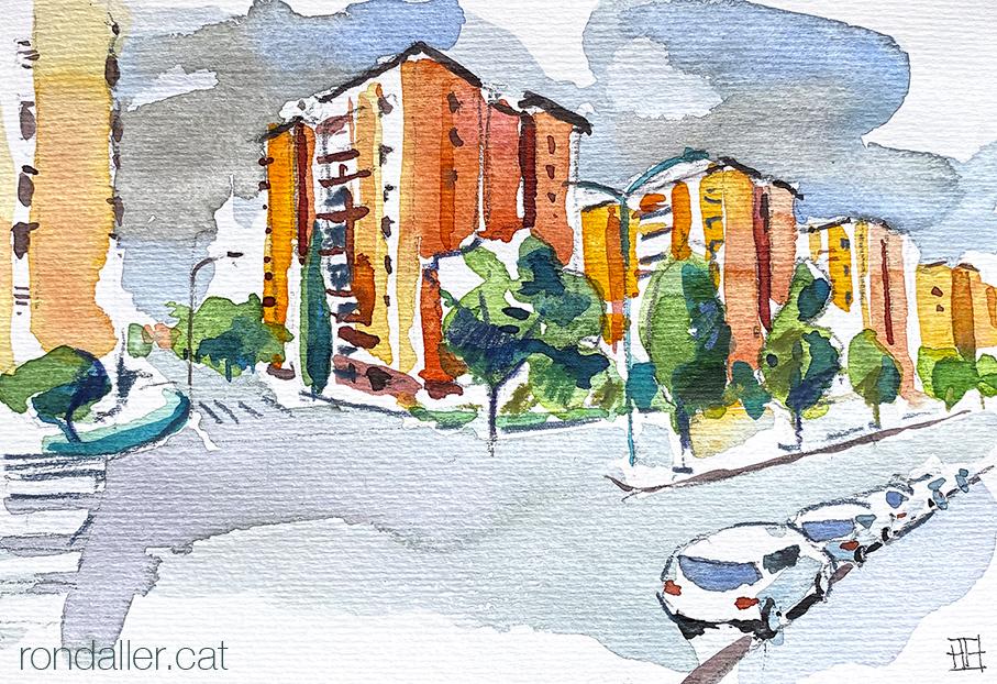 Aquarel·la dels blocs del grup Espartero de Mataró (Maresme).