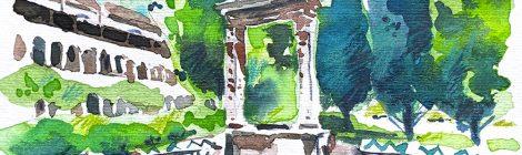 Aquarel·la del pou del claustre del monestir de Pedralbes de Barcelona.