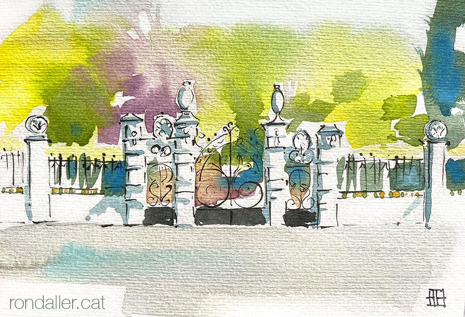 Aquarel·la de l'entrada monumental de les Escoles Ribas de Rubí, projectades per l'arquitecte Emili Sala Cortés.