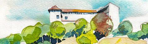 Aquarel·la amb una panoràmica del castell de Rubí, al barri de la Plana del Castell.