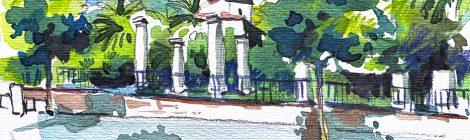 Aquarel·la amb una panoràmica del jardí arqueològic de València.
