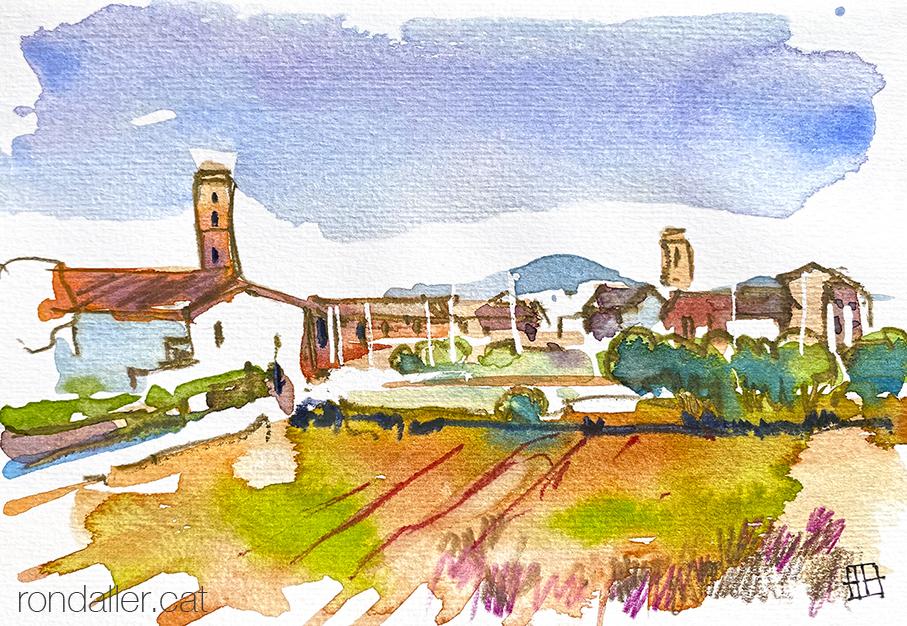 Aquarel·la d'Alfara del Patriarca, població de l'Horta Nord de València.