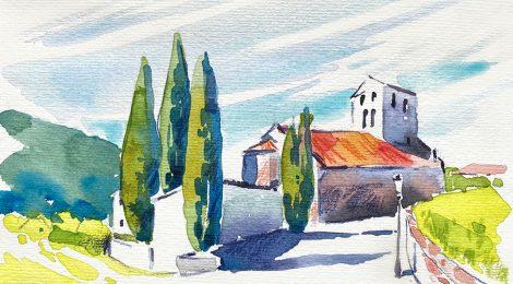 Aquarel·la de l'església romànica de Sant Feliu de Beuda, a la Garrotxa.