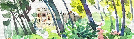 Aquarel·la del castell de Jaumar, situat a la població de Cabrils, dins la comarca del Maresme.
