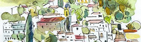 Aquarel·la amb una panoràmica de Cabrils, població situada a la comarca del Maresme.