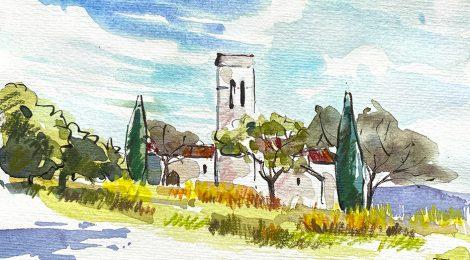 Aquarel·la de l'església de Sant Esteve de Castellar Vell, a Castellar del Vallès, Vallès Occidental.