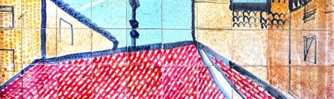 Mosaic realitzat el 1975 per Julio Bono a Granollers, que representa la plaça Porxada.