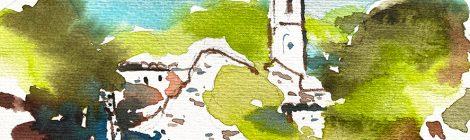 Aquarel·la de l'església mig enrunada de Santa Eulàlia de Tapioles, al terme de Vallgorguina (Vallès Oriental).