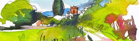 Aquarel·la de l'església de Sant Cebrià de Fogars, a la Selva.