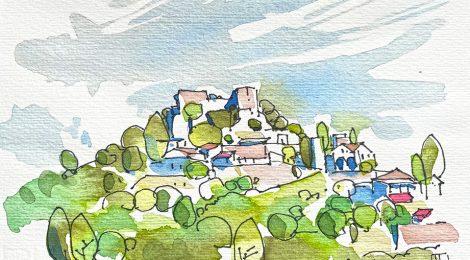 Aquarel·la de la població de Granera, dins la comarca del Moianès.