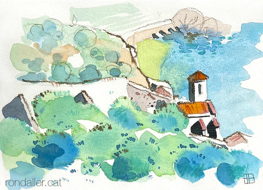 Aquarel·la de Miravet a la comarca de la Ribera d'Ebre, amb el riu de fons.