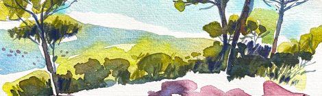 Aquarel·la dels boscos que cobreixen el Montcabrer, al terme de Cabrils (Maresme).