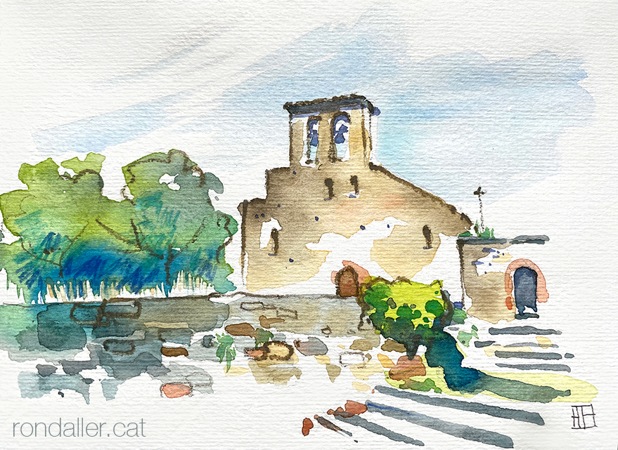 Aquarel·la de l'església romànica del Sant Sepulcre de Palera, dins el municipi de Beuda, a la Garrotxa.