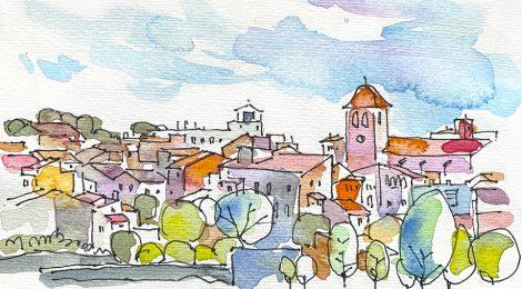 Aquarel·la de Riudencanyes, població de la comarca del Baix Camp de Tarragona.