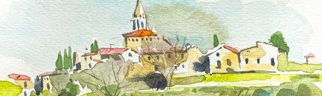 Aquarel·la de la vila medieval de Sant Martí Vell, dins la comarca del Gironès.