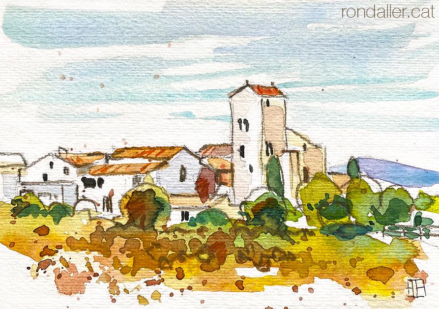 Aquarel·la d'Avinyonet del Penedès, on destaca el campanar del monestir de Sant Sebastià dels Gorgs.