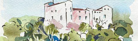 Aquarel·la del castell de Sentmenat, població situada a la comarca del Vallès Occidental.