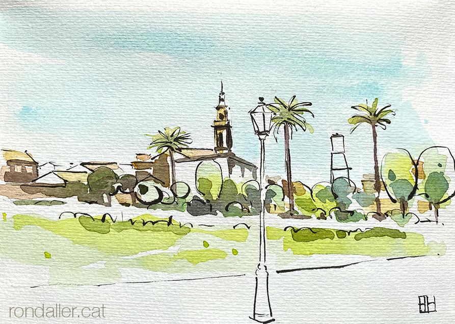 Aquarel·la de la població de Vinalesa, a l'Horta Nord de València.