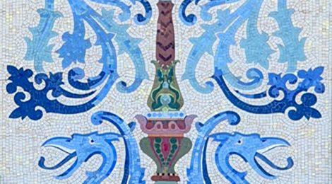 Casa Aleu o Casa Teresa Font. Detall del mosaic realitzat per Lluís Bru i Salelles.