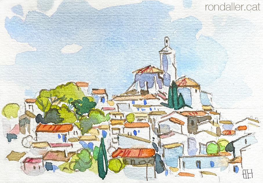 Aquarel·la amb una panoràmica de Cadaqués, població de la Costa Brava a l'Alt Empordà.