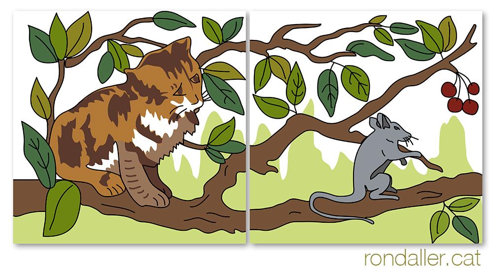 Can Terrades a Arenys de Munt (Maresme). Detall del fris ceràmic amb un gat i ratolí.