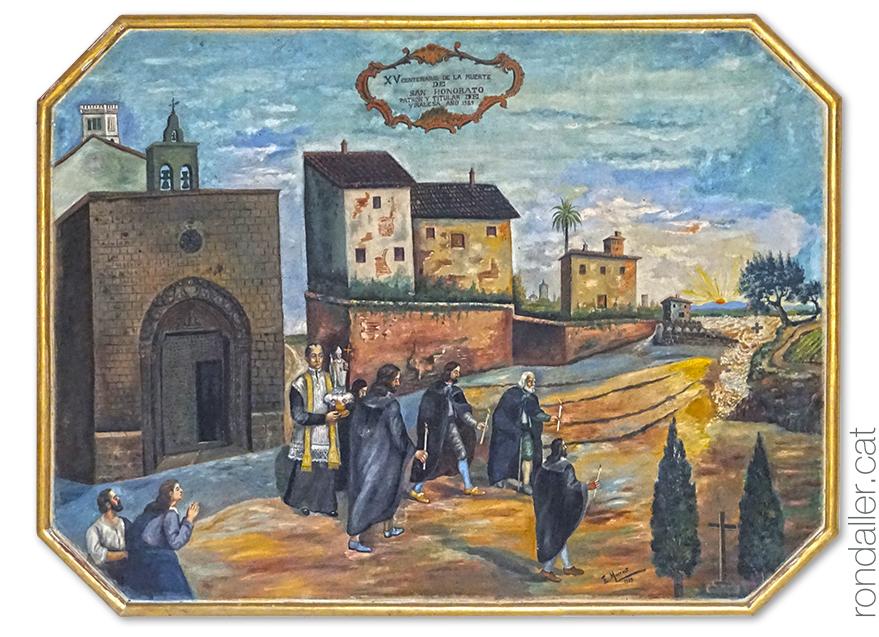 Església de Sant Honorat de Vinalesa, a l'Horta Nord de València. Pintura d'Elías Montalt que mostra el miracle de la riada.