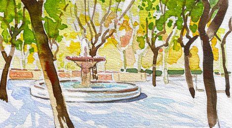 Aquarel·la amb un racó del Parc Dalmau de Calella, al Maresme.