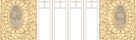 Detall de la decoració d'una finestra amb motius esgrafiats i decoració escultòrica.