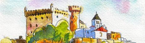 Aquarel·la amb una panoràmica del castell de Castelldefels, al Baix Llobregat.