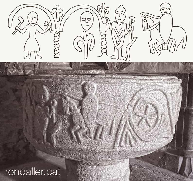 Església de Sant Martí de Gausac a la Vall d'Aran. Detall de les decoracions esculpides al voltant de la pica baptismal.