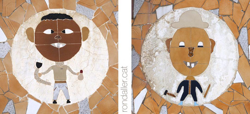 Art marginal a Palafolls (Maresme). Mosaics a la façana de la casa de Narcís Ribas.