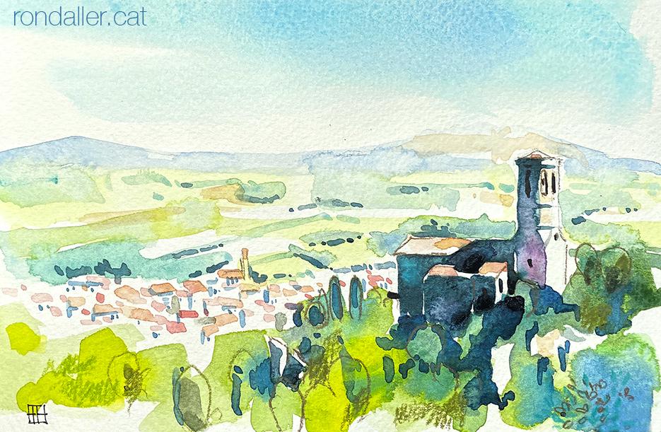 Aquarel·la amb una panoràmica de Gelida (Alt Penedès) amb l'església de Sant Pere en primer pla.