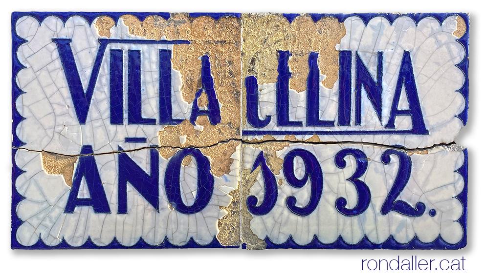 La Villa Celina a Vilassar de Mar (Maresme). Plafó ceràmic noucentista realitzat el 1932.
