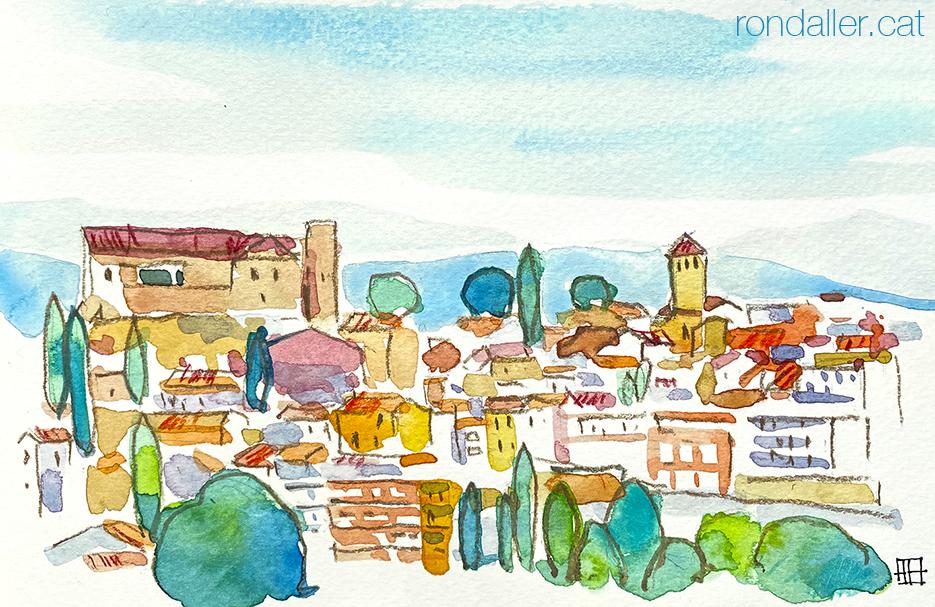 Aquarel·la amb una panoràmica d'El Papiol, municipi de la comarca del Baix Llobregat.