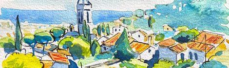 Aquarel·la amb una panoràmica del barri antic i el campanar de Premià de Dalt, al Maresme.