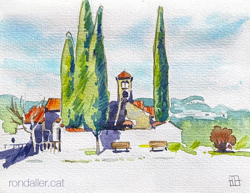 Aquarel·la de l'església romànica de Sant Sebastià de Montmajor, dins el terme de Caldes de Montbui, al Vallès Oriental.