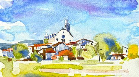 Aquarel·la amb una panoràmica de Sant Boi de Lluçanès, comarca a cavall entre Osona i el Berguedà.