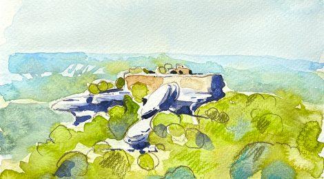 Aquarel·la del castell de Taradell (Osona), enfilat dalt d'una balma rocosa.