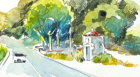 Aquarel·la de la primera estafeta de correus, situada a la carretera de Valldeix, a Mataró (Maresme).