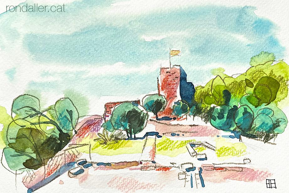 Aquarel·la del castell de Cervelló, al Baix Llobregat.