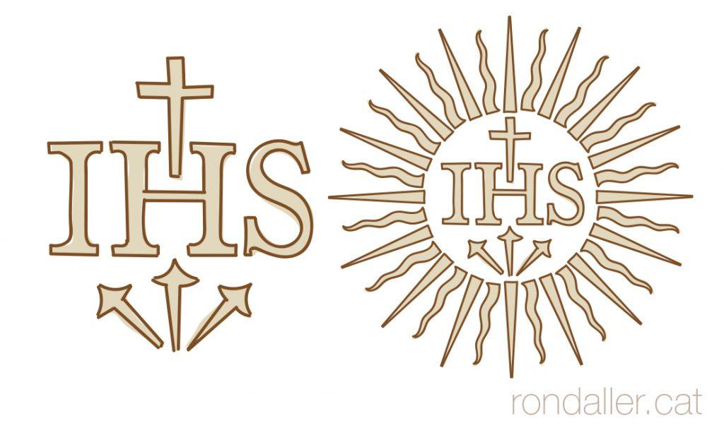 Croquis de la versió del monograma IHS amb els tres claus, de la Companyia de Jesús.